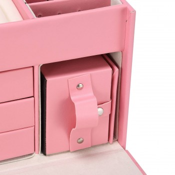 Makika Square Jewelry Box / Jewelry Storage with 3 Drawers and separate Travel Box - in Pink – Bild 9