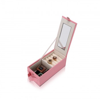 Makika Square Jewelry Box / Jewelry Storage with 3 Drawers and separate Travel Box - in Pink – Bild 10