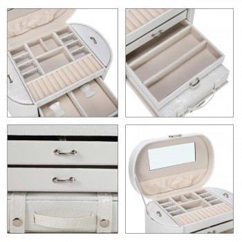 Makika Jewelry Box / Jewelry Storage with 2 Side Cases Arched Crocodile Grain Faux Leather - in White – Bild 11