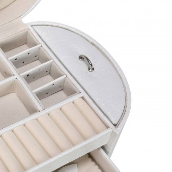 Makika Jewelry Box / Jewelry Storage with 2 Side Cases Arched Crocodile Grain Faux Leather - in White – Bild 9