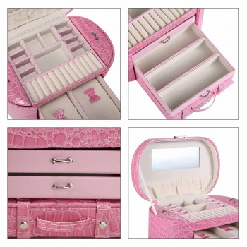 Makika Jewellery Box / Jewellery Storage with 2 Side Cases Arched Crocodile Grain Faux Leather - in Pink – Bild 12