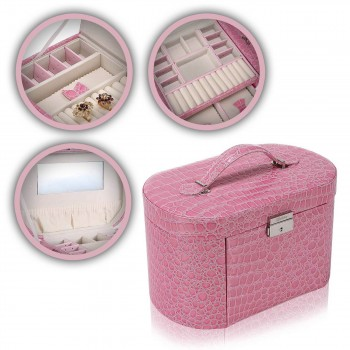 Makika Jewellery Box / Jewellery Storage with 2 Side Cases Arched Crocodile Grain Faux Leather - in Pink – Bild 1