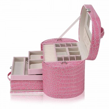 Makika Jewellery Box / Jewellery Storage with 2 Side Cases Arched Crocodile Grain Faux Leather - in Pink – Bild 5