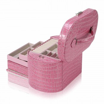 Makika Jewellery Box / Jewellery Storage with 2 Side Cases Arched Crocodile Grain Faux Leather - in Pink – Bild 6