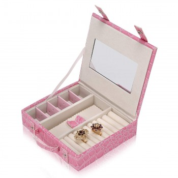 Makika Jewellery Box / Jewellery Storage with 2 Side Cases Arched Crocodile Grain Faux Leather - in Pink – Bild 10