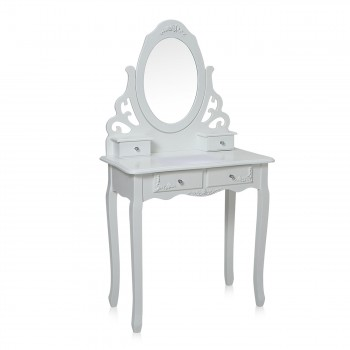 Makika Dressing table / Make-up table ZOE with rotatable mirror and padded stool – Bild 3