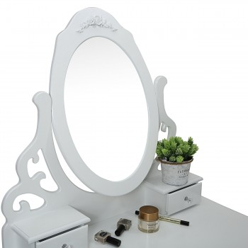 Makika Dressing table / Make-up table ZOE with rotatable mirror and padded stool – Bild 6