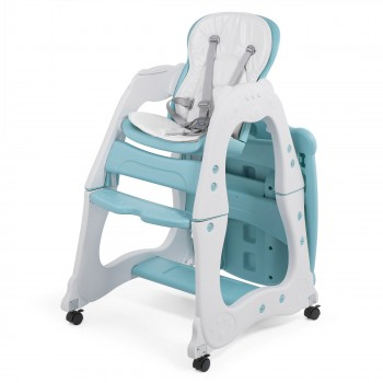 Baby Vivo 2-in-1 Child's Highchair / Combo Plastic High Chair with Table and Casters - Mara in Mint green – Bild 3