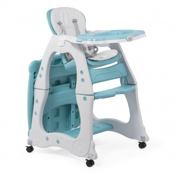 Baby Vivo 2-in-1 Child's Highchair / Combo Plastic High Chair with Table and Casters - Mara in Mint green – Bild 7