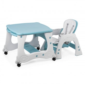 Baby Vivo 2-in-1 Child's Highchair / Combo Plastic High Chair with Table and Casters - Mara in Mint green – Bild 10