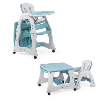 Baby Vivo 2-in-1 Child's Highchair / Combo Plastic High Chair with Table and Casters - Mara in Mint green – Bild 1