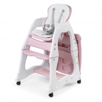 Baby Vivo 2-in-1 Child's Highchair / Combo Plastic High Chair with Table and Casters - Mara in Pink – Bild 3