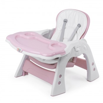 Baby Vivo 2-in-1 Child's Highchair / Combo Plastic High Chair with Table and Casters - Mara in Pink – Bild 14