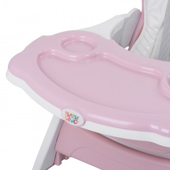 Baby Vivo 2-in-1 Child's Highchair / Combo Plastic High Chair with Table and Casters - Mara in Pink – Bild 12
