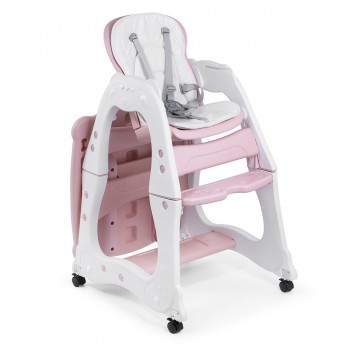Baby Vivo 2-in-1 Child's Highchair / Combo Plastic High Chair with Table and Casters - Mara in Pink – Bild 8