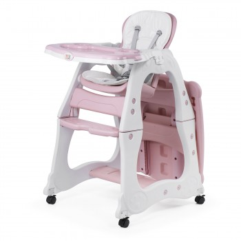 Baby Vivo 2-in-1 Child's Highchair / Combo Plastic High Chair with Table and Casters - Mara in Pink – Bild 2