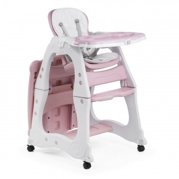 Baby Vivo 2-in-1 Child's Highchair / Combo Plastic High Chair with Table and Casters - Mara in Pink – Bild 7
