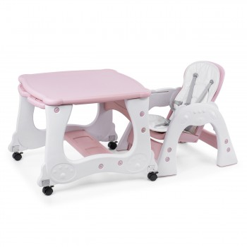 Baby Vivo 2-in-1 Child's Highchair / Combo Plastic High Chair with Table and Casters - Mara in Pink – Bild 10