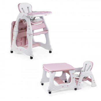 Baby Vivo 2-in-1 Child's Highchair / Combo Plastic High Chair with Table and Casters - Mara in Pink – Bild 1