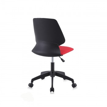 MY SIT Office Chair / Design Stool Swivel Chair NEO with Soft Floor Castors in Black/Red – Bild 5