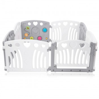 Baby Vivo Playpen Plastic 8 Elements in Grey / White - Judy – Bild 3