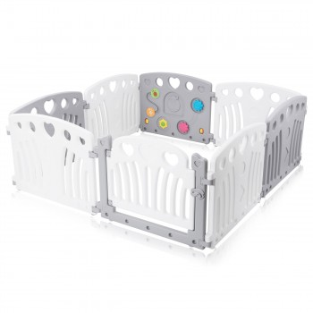 Baby Vivo Playpen Plastic 8 Elements in Grey / White - Judy – Bild 2
