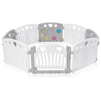 Baby Vivo Playpen Plastic 8 Elements in Grey / White - Judy – Bild 1