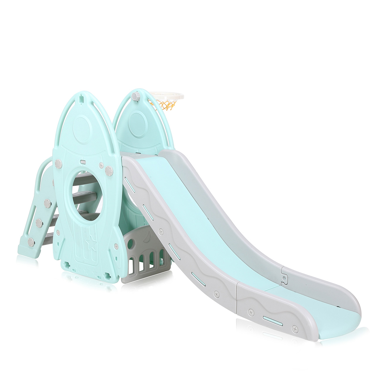 baby vivo toboggan pour enfants toboggan en turquoise gris b b enfant jouets terrains de jeux. Black Bedroom Furniture Sets. Home Design Ideas