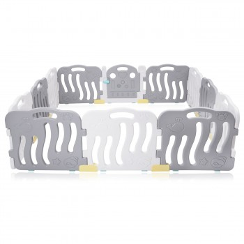 Baby Vivo Playpen Plastic 12 Elements in Grey / White - Milo – Bild 3
