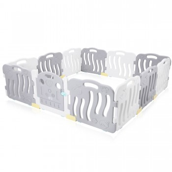 Baby Vivo Playpen Plastic 12 Elements in Grey / White - Milo – Bild 2