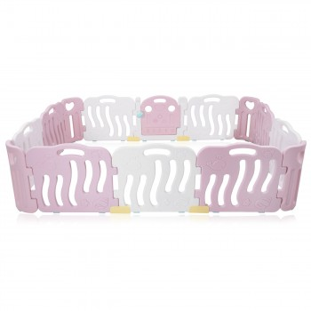 Baby Vivo Playpen Plastic 14 Elements in Pink / White - Bailey  – Bild 3