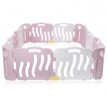 Baby Vivo Playpen Plastic 14 Elements in Pink / White - Bailey  – Bild 4