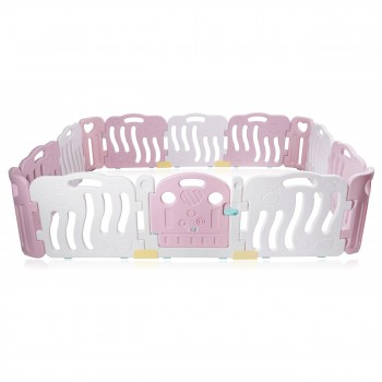 Baby Vivo Playpen Plastic 14 Elements in Pink / White - Bailey  – Bild 2